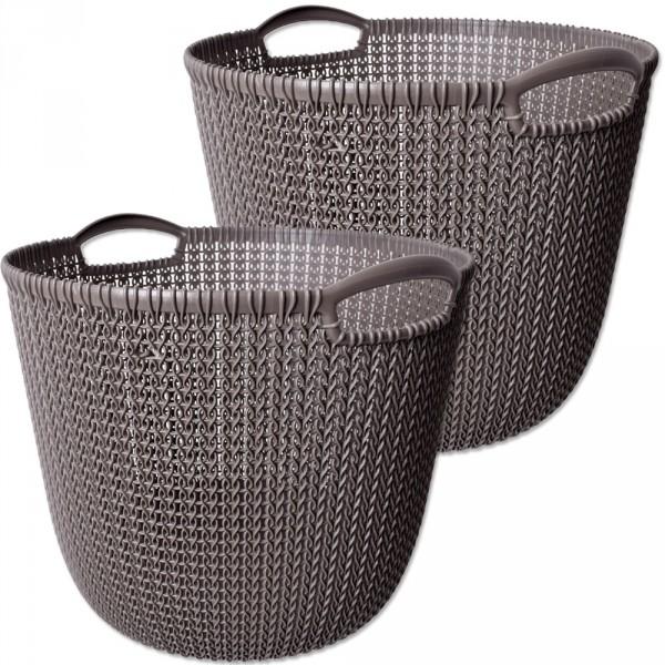 2 Stück Curver Knit Collection L Wäschekorb Kunststoff Badezimmer  Aufbewahrung Korb Regalkorb Behält